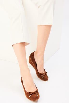 İnci Hakiki Deri Süet Taba Kadın Dolgu Topuklu Ayakkabı  120130006518