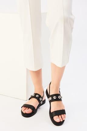 İnci Hakiki Deri Siyah Kadın Sandalet 120130002196