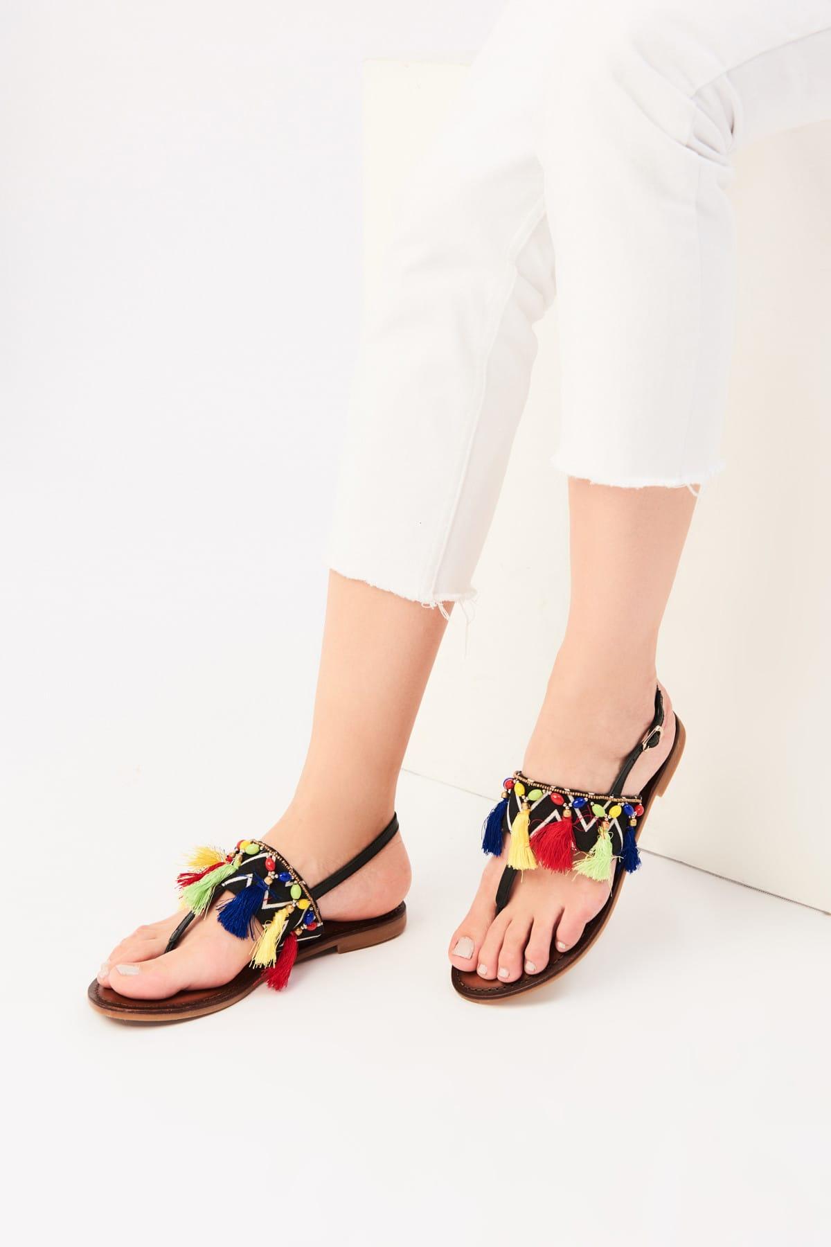 İnci Hakiki Deri Siyah Kadın Sandalet 120130002416 1