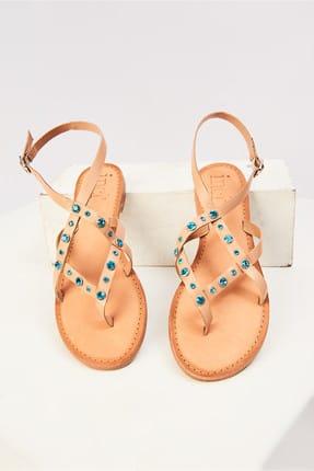İnci Hakiki Deri Turkuaz Kadın Sandalet 120130005448
