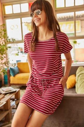 Olalook Kadın Bordo İnce Çizgili Beli Bağcıklı Cepli Elbise ELB-19000556
