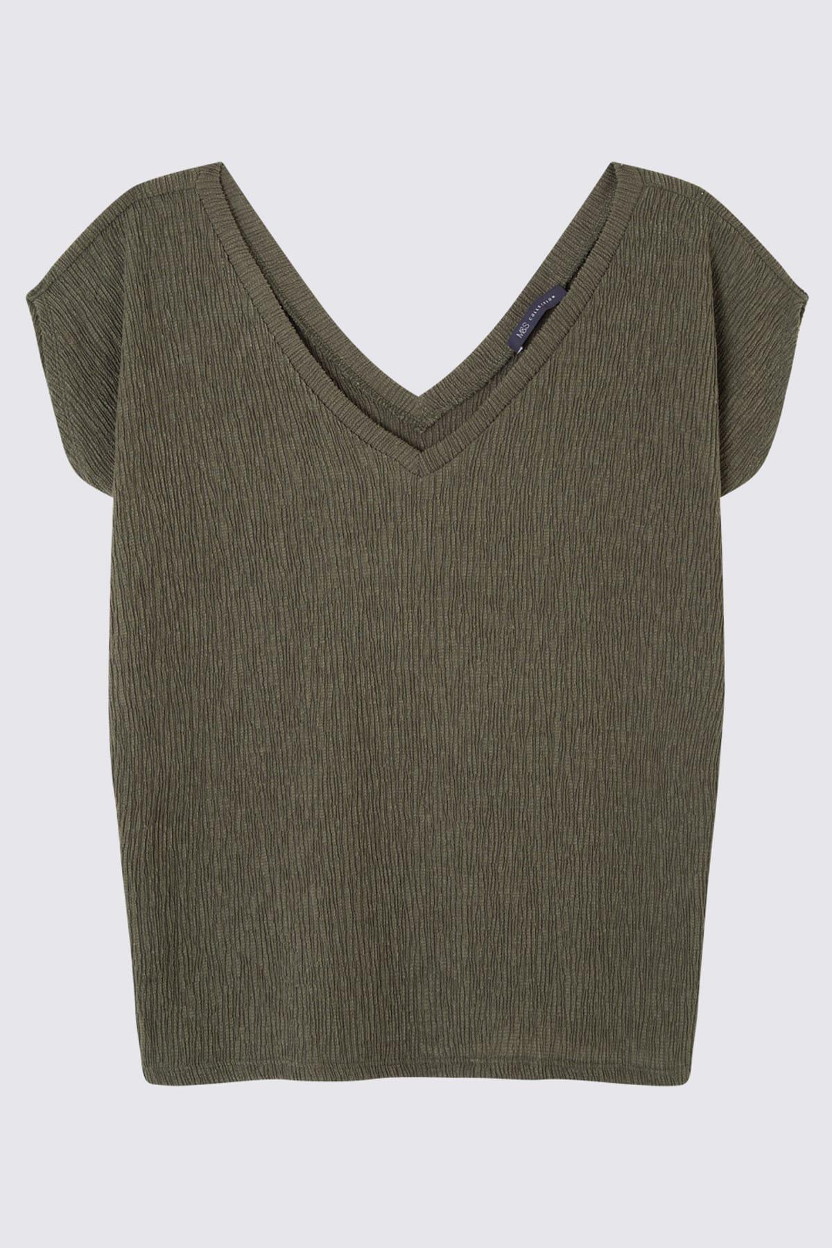 Marks & Spencer Kadın Yeşil Kısa Kollu V Yaka Bluz T41007670H 1
