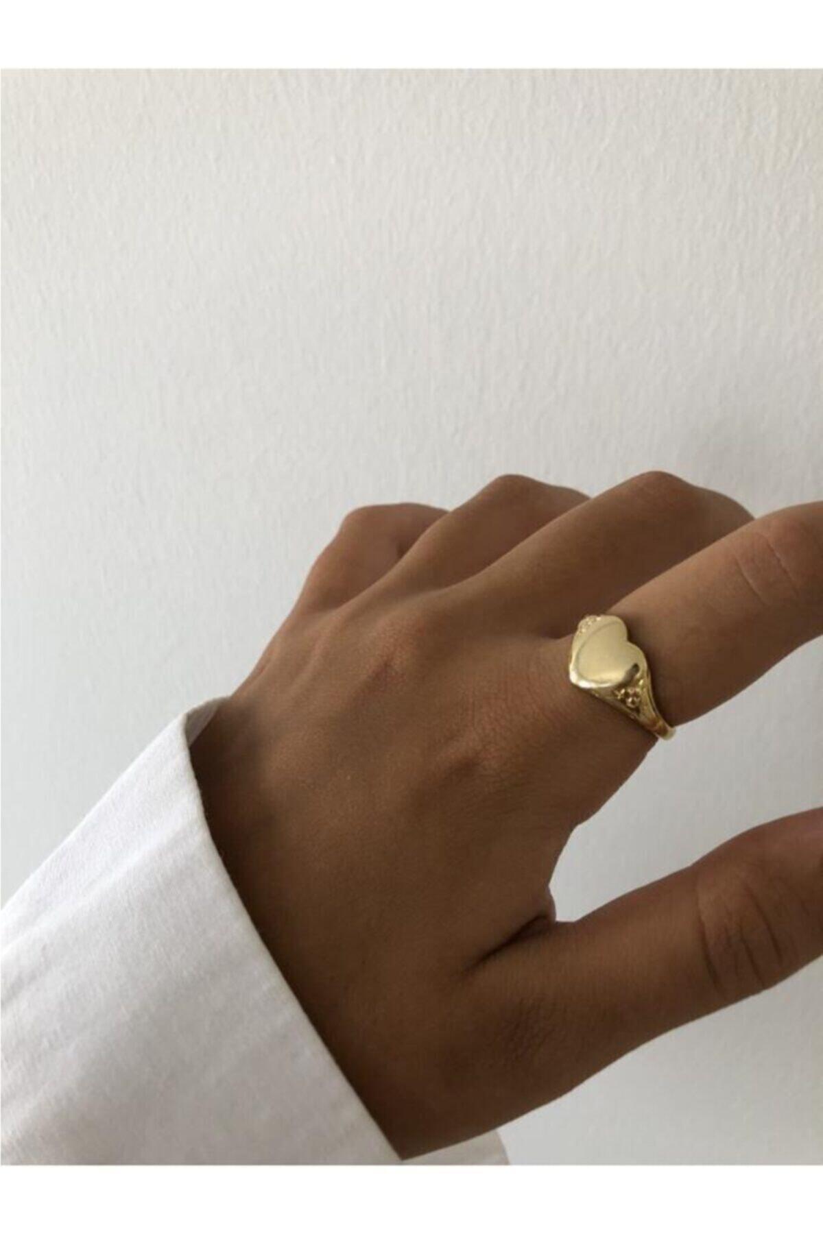 The Y Jewelry Kadın Altın Kaplama Kalp Yüzük 1