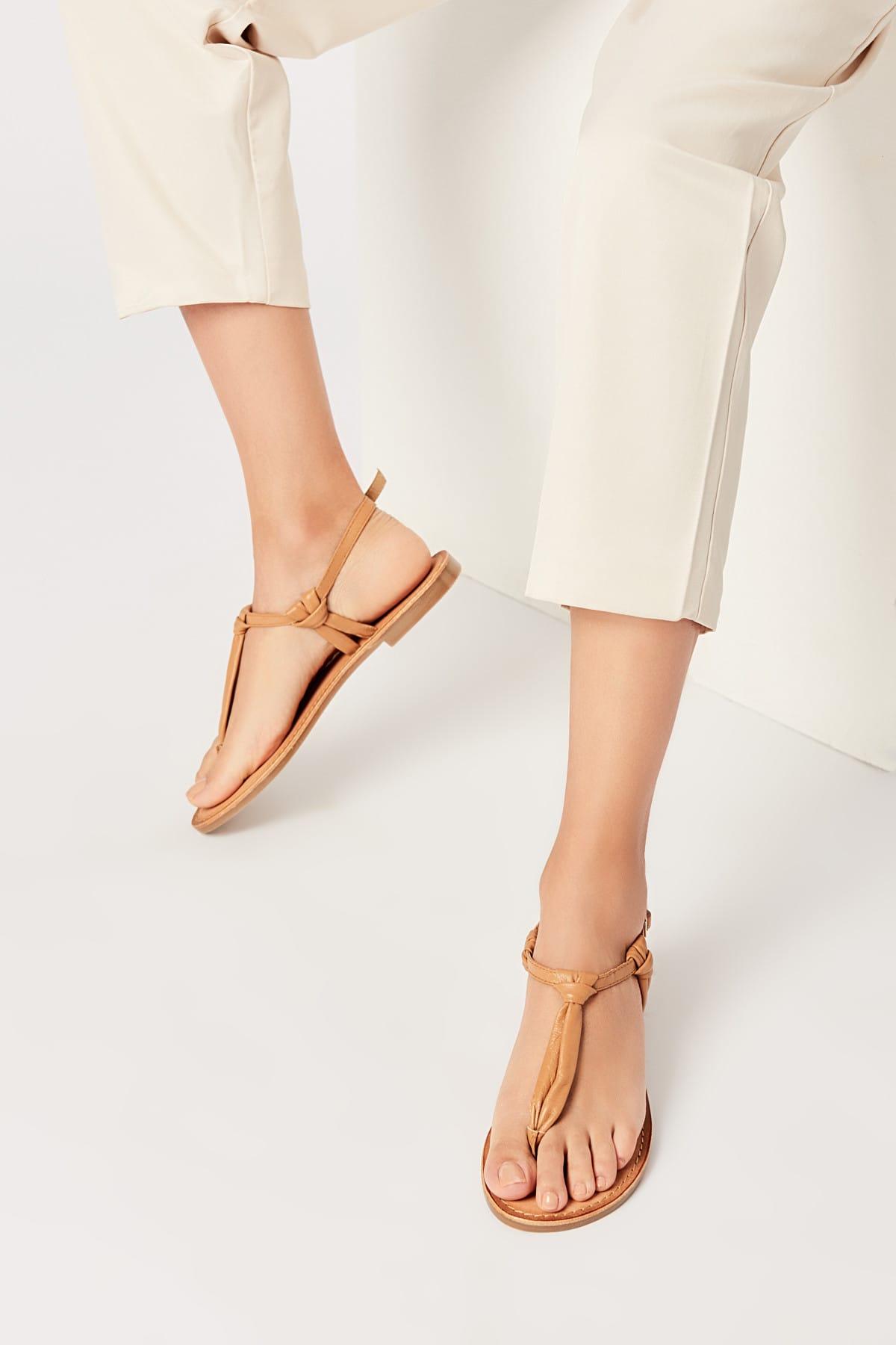 İnci Hakiki Deri Taba Kadın Sandalet 120130005456 1