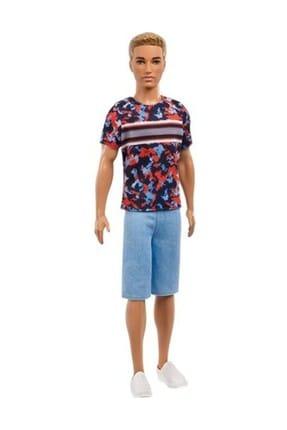 Barbie Ken Fashionistas Bebek Desenli Tişörtlü, Mavi Şortlu  FXL65-DWK44
