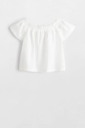 MANGO Kids Kırık Beyaz Kız Çocuk Omuzları Açık Koton Bluz 53030748
