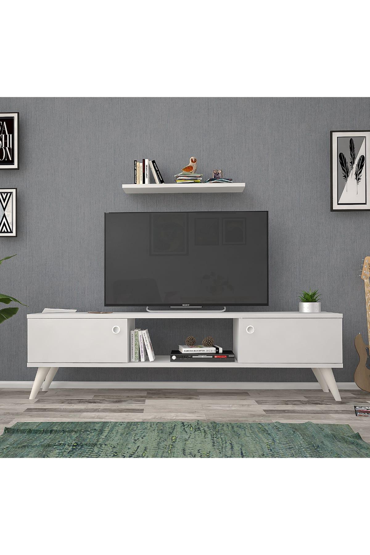 Mbes Mobilya 140 Cm Eda Beyaz Tv Ünitesi 1