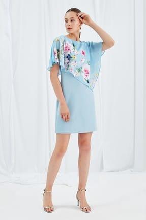 Journey Kadın Açık Mavi Üst Beden Desenli Şifon Alt Beden Kalem Düşük Dökümlü Kol Elbise 19YELB206