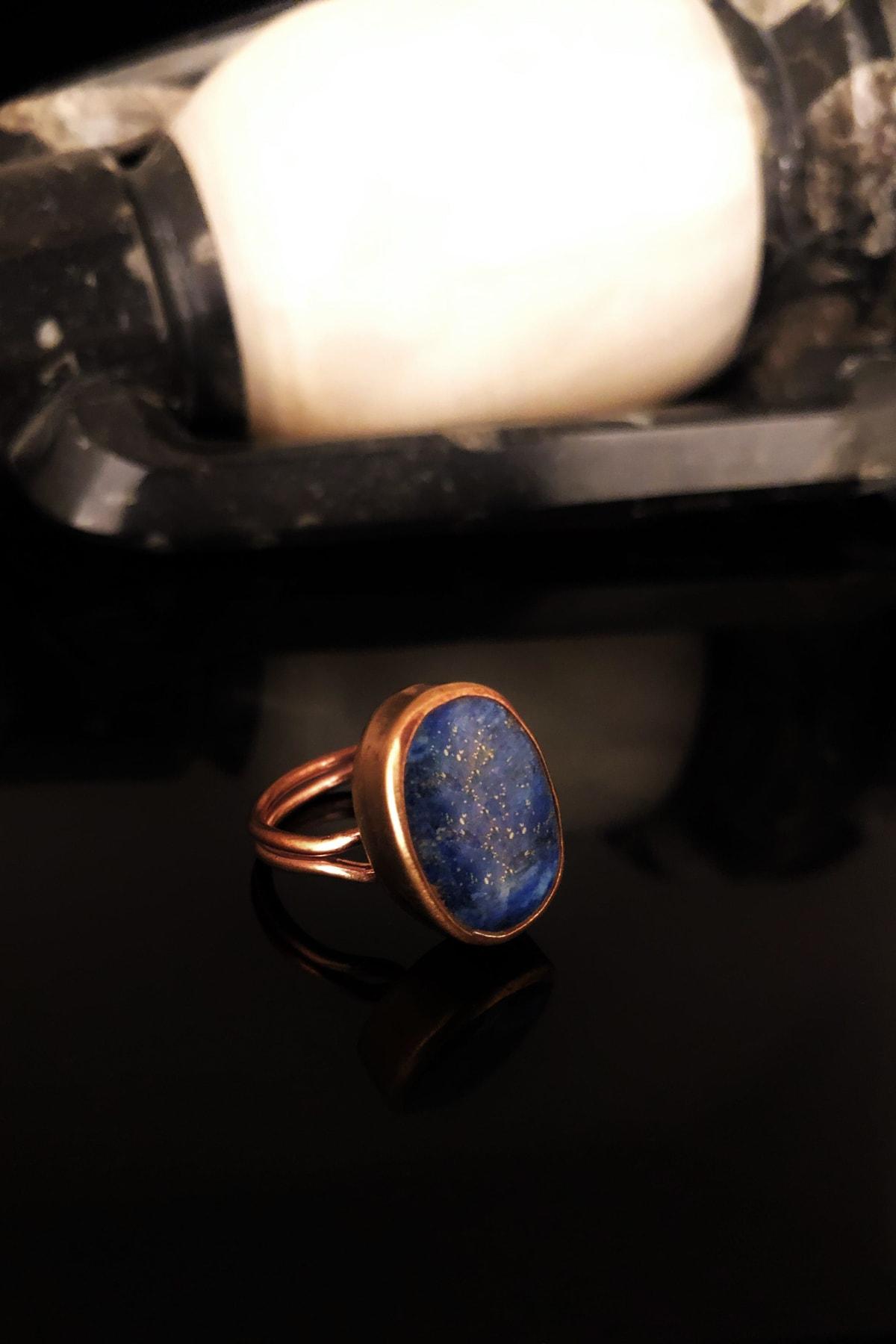 Dr. Stone Dr Stone Doğaltaş Kadın Lapis Lazuli Taşı Rose Altın Kaplama Yüzük KRB373 1