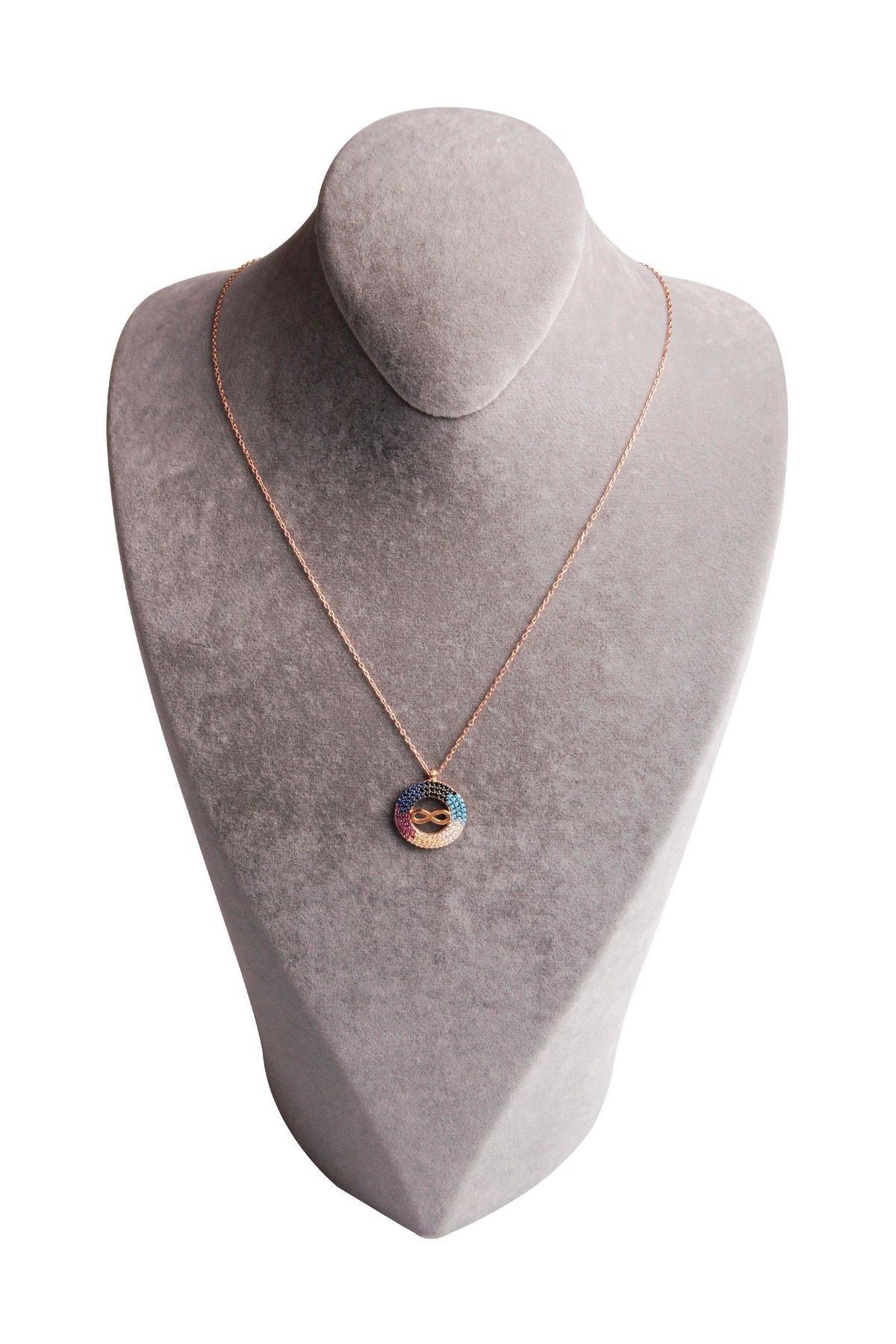Sahra Renkli Zirkon Süslemeli Sonsuzluk Tasarım 925 Ayar Gümüş Kolye KLY-0066-21 2