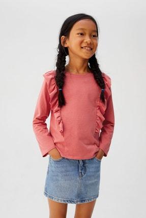 MANGO Kids Pembe Kız Çocuk Fırfırlı Tişört 53963735