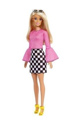 Barbie Fashionistas Bebek ve Aksesuarları Sarı Saçlı, Kareli Etekli, Pembe Bluzlu FXL44-FBR37