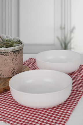 Keramika Mat Beyaz Kera Salata Kasesi 18 Cm 2 Adet