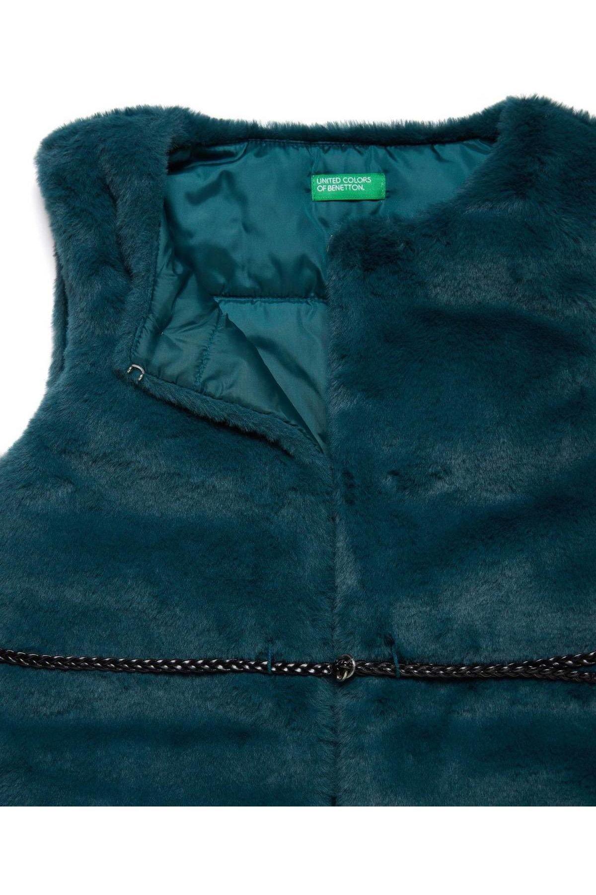 United Colors of Benetton Petrol Yeşili Kız Çocuk Kemer Detaylı Kürk Hırka 2