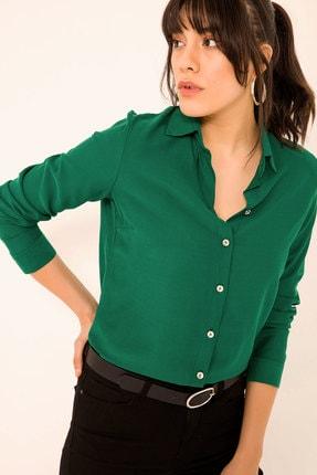 armonika Kadın Koyu Yeşil Uzun Kollu Düz Gömlek ARM-18Y001176