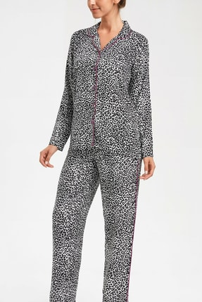SUWEN Kadın Siyah Baskılı Superstar Maskülen Pijama Takımı