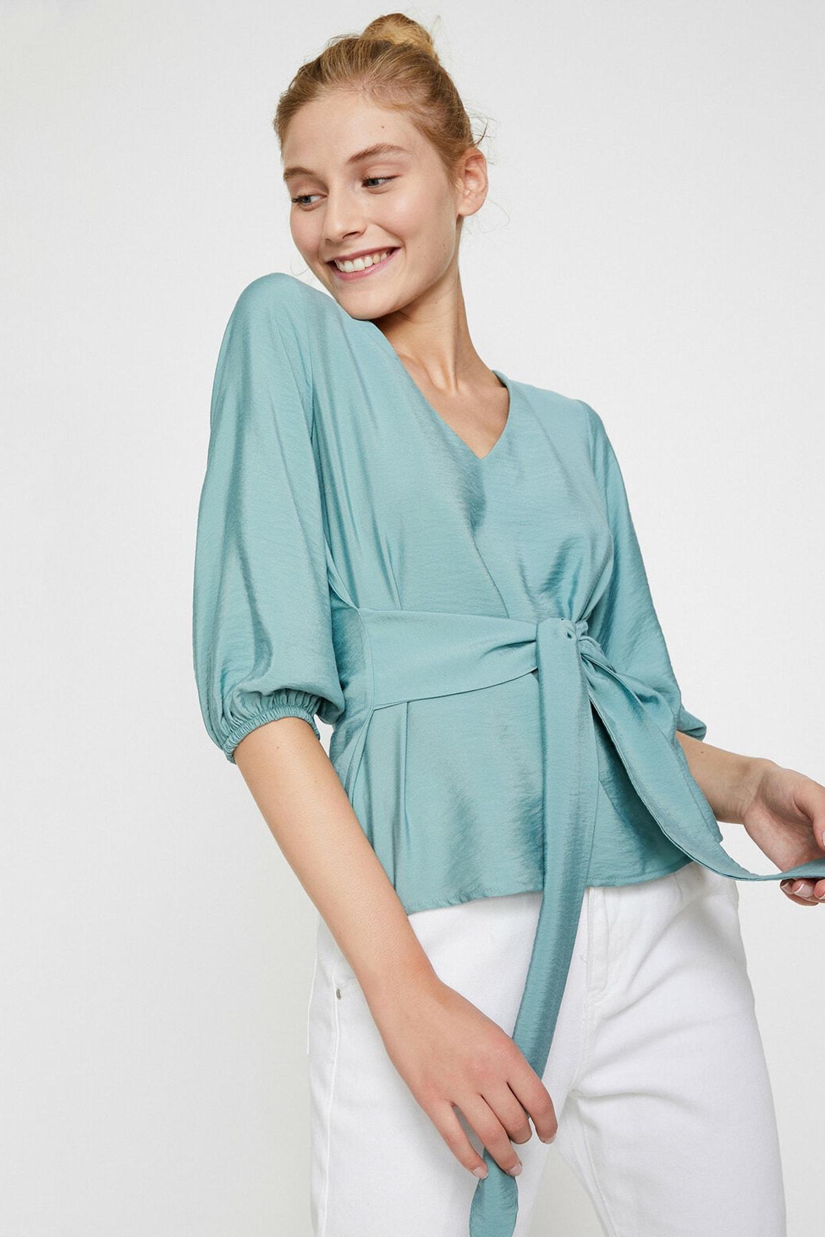 Koton Kadın Yeşil Bluz 0KAL68768IW 1