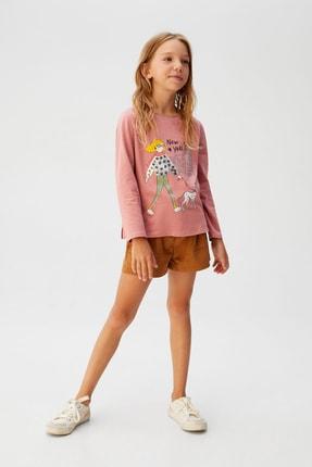 MANGO Kids Pembe Kız Çocuk Pullu Ve Baskılı T-Shirt 57075932