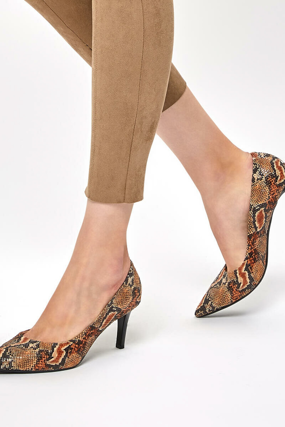 Miss F DW19002 Yılan Rengi Kadın Topuklu Ayakkabı 100439645 1