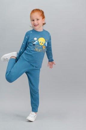 TWEETY Lisanslı Petrol Kız Çocuk Pijama Takımı