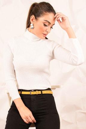 armonika Kadın Beyaz Boyunlu Fitilli Triko Kazak ARM-20K012016