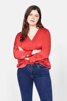Violeta by MANGO Kadın Kırmızı Saten Bluz 53087664