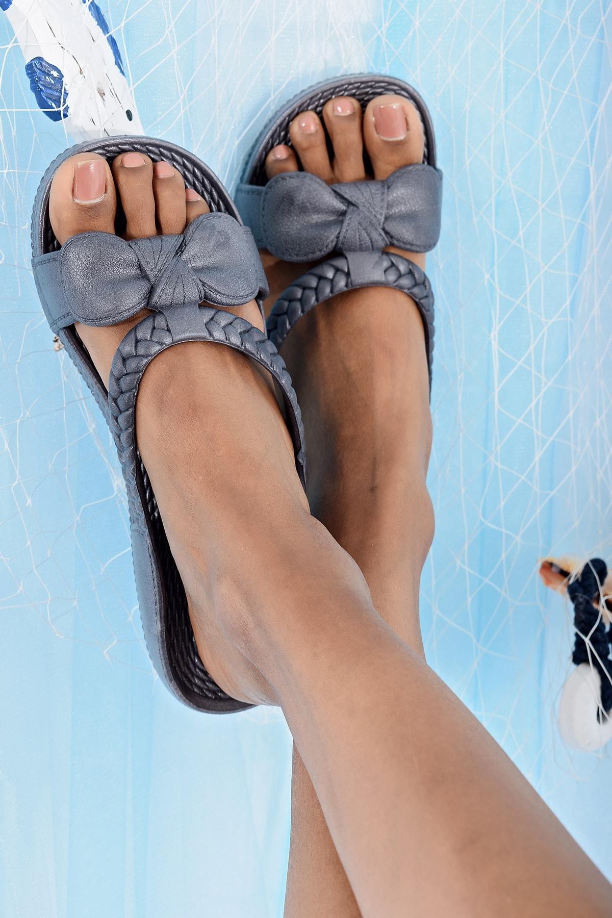 Ayakkabı Modası Gri Kadın Terlik M9999-19-100230R 2
