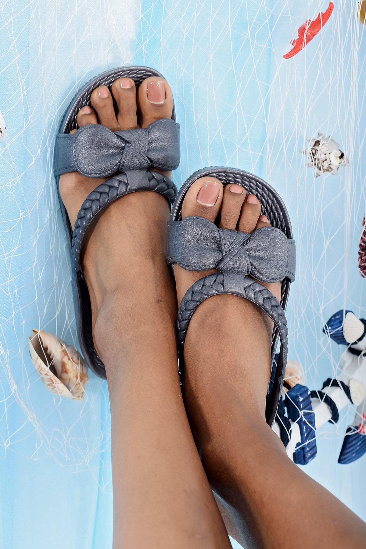 Ayakkabı Modası Gri Kadın Terlik M9999-19-100230R 1