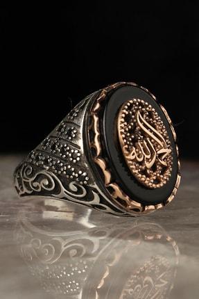 Tesbihevim Elhamdülillah Yazılı Oniks Taşlı Gümüş Yüzük