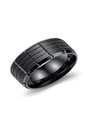 Chavin Parlak Siyah Unisex Çelik Yüzük ec38sy