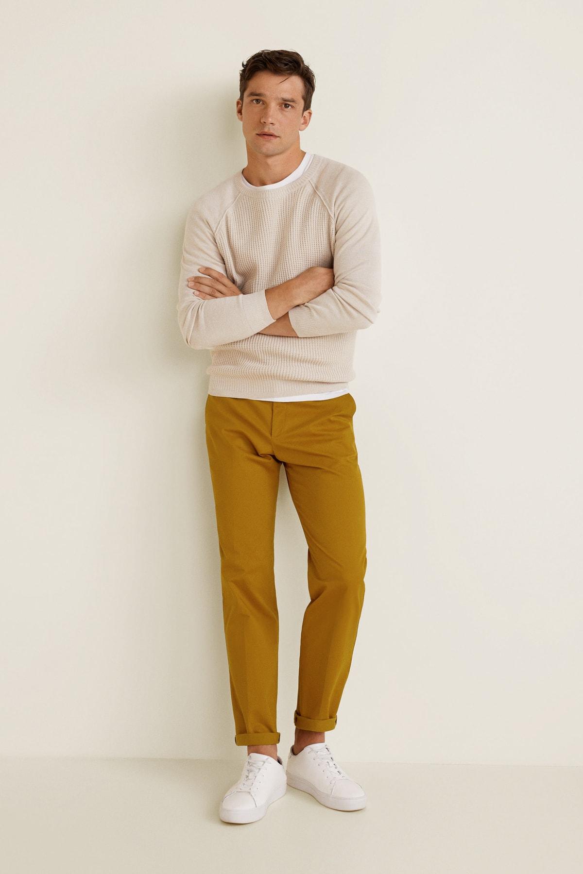 MANGO Man Erkek Kahverengi Pantolon 1