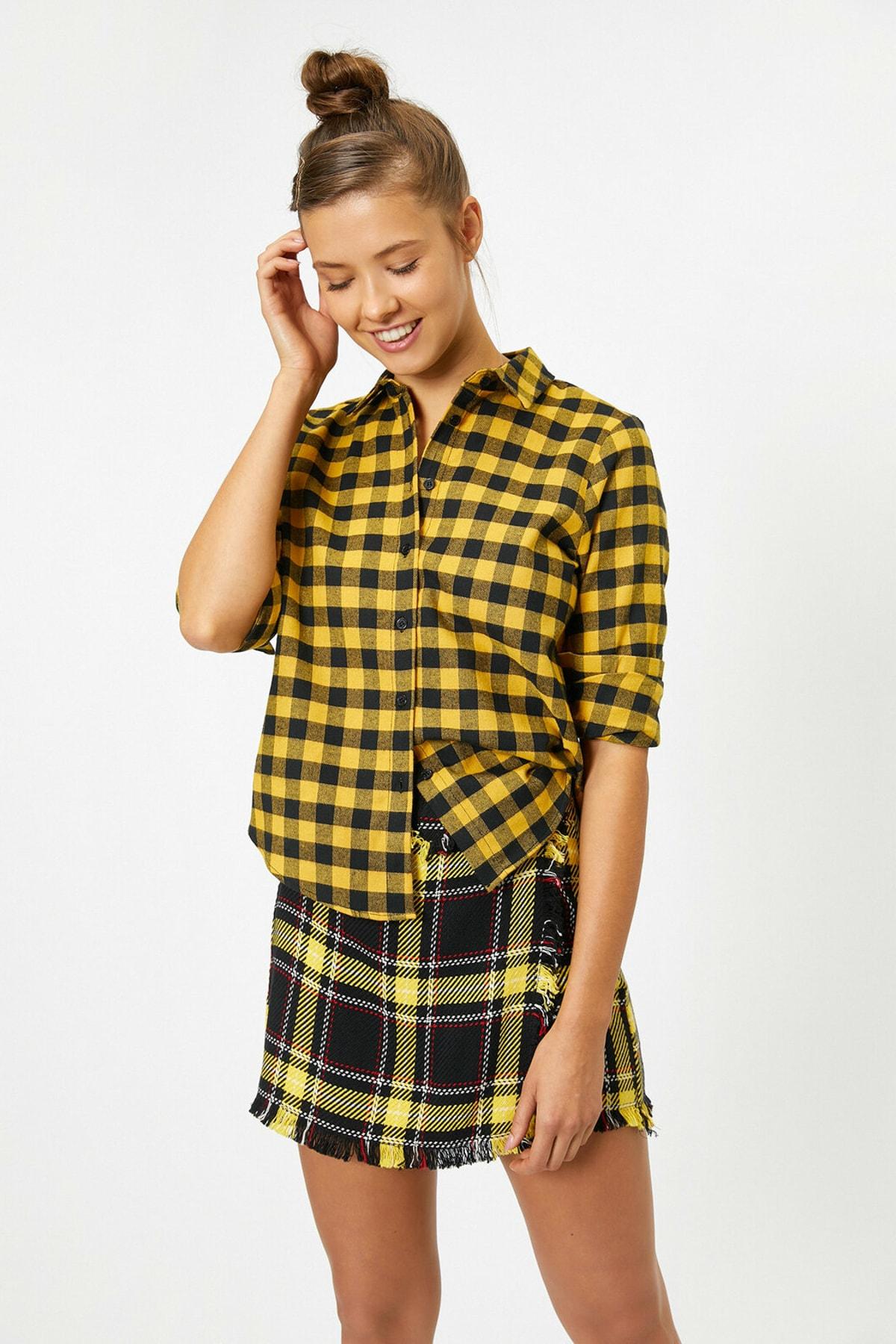 Koton Kadın Sarı Kareli Gömlek 0KAL68584IW 2