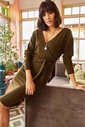 Olalook Kadın Haki Kruvaze Kuşaklı Triko Elbise ELB-19000827