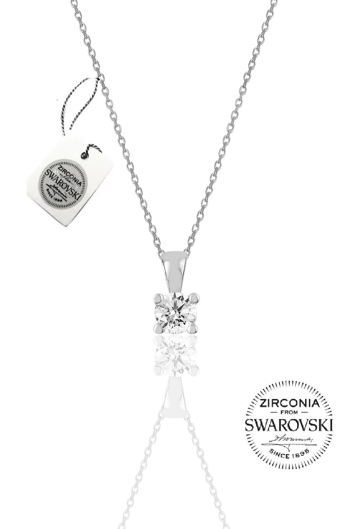 Söğütlü Silver Kadın Gümüş Swarovski Tek Taş Kolye SGTL20505A 1