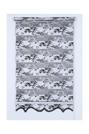 Tengo Zebra Perde Elmas Çiçekli Gri Jakarlı Etekli Stor
