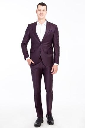 Kiğılı Slim Fit Yünlü Desenli Takım Elbise