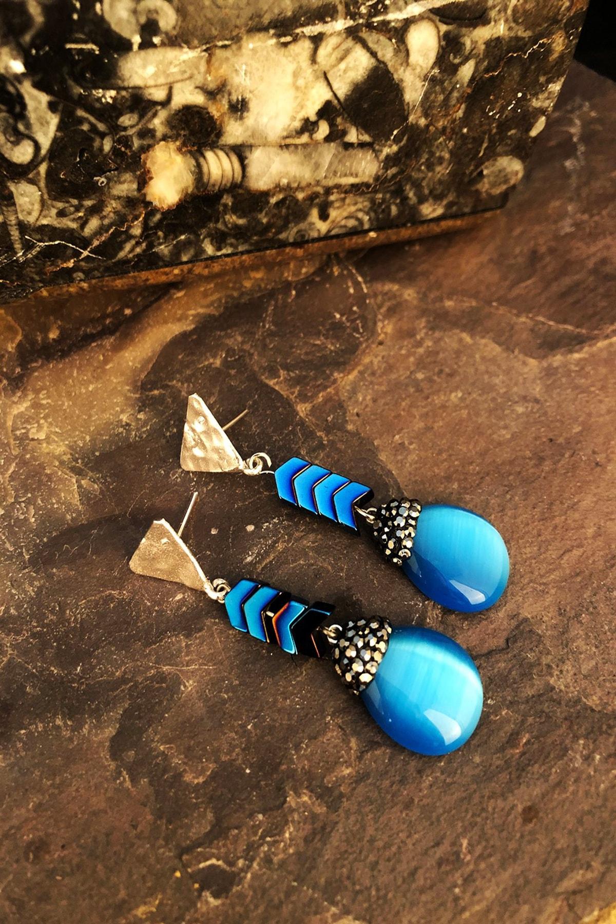 Dr. Stone Doğaltaş Kadın Kedigözü Taşı Gümüş Kaplama Küpe Ryl13 1