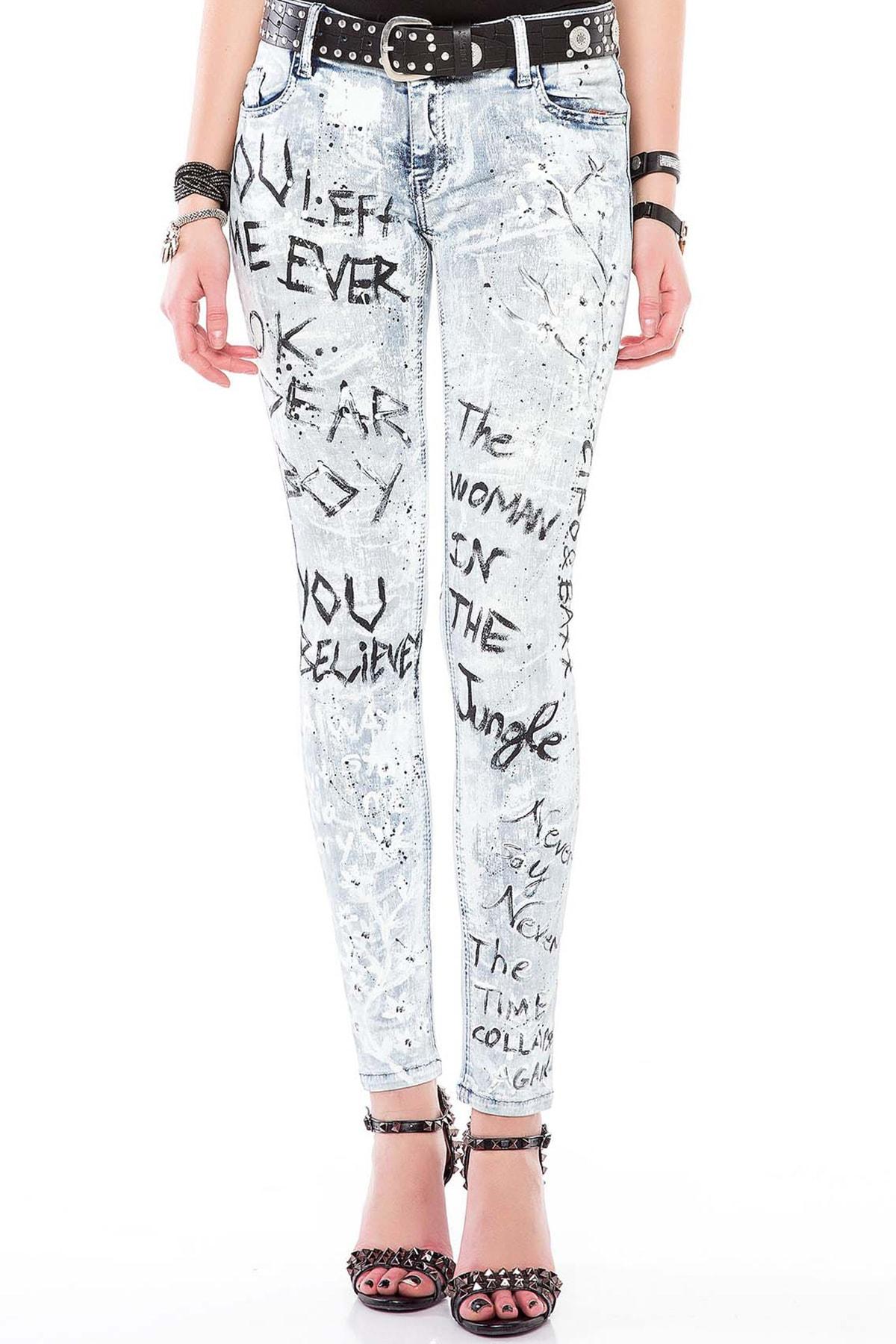 Cipo&Baxx WD370 Boyalı Baskılı Buz Mavi Slim Fit Bayan Jeans Kot 2