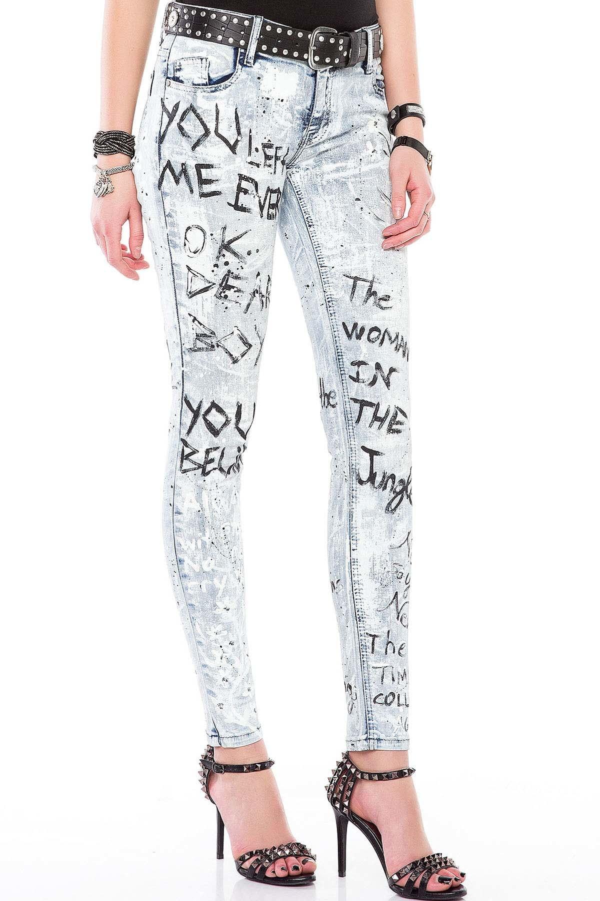 Cipo&Baxx WD370 Boyalı Baskılı Buz Mavi Slim Fit Bayan Jeans Kot 1