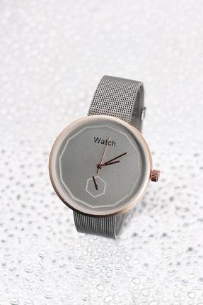 TAKIŞTIR Rose Renk Kasa Detaylı Gümüş Renk Hasır Kordonlu Kadın Saat