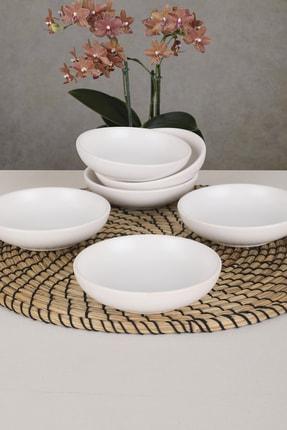 Keramika Mat Beyaz Halka Çerezlik/Sosluk 13 Cm 6 Adet