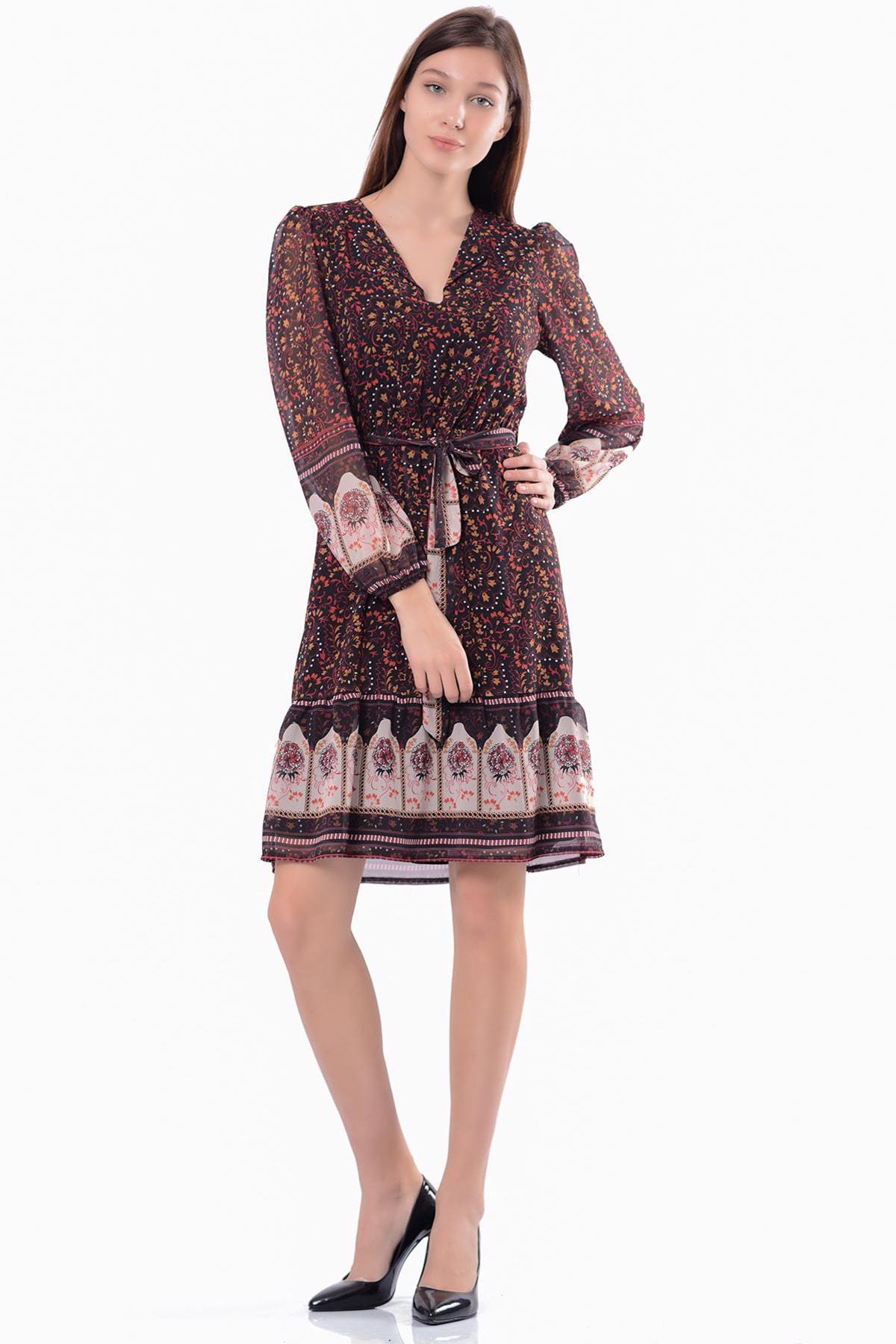 İroni Kadın Siyah & Desenli Kruvaze  Elbise 5301-1333 1