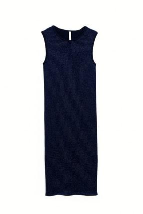 Yargıcı Kadın Koyu Mavi Kolsuz Parlak Triko Elbise 9KKEL7101X