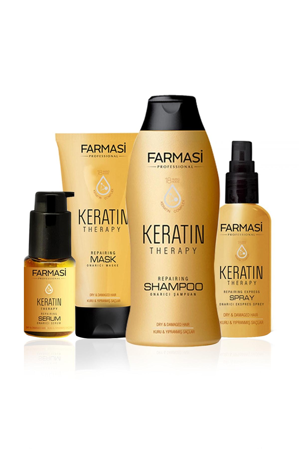 Farmasi Keratin Theraphy 4'lü Onarıcı Saç Bakım Seti - Şampuan + Maske + Sprey + Serum 9502900099999