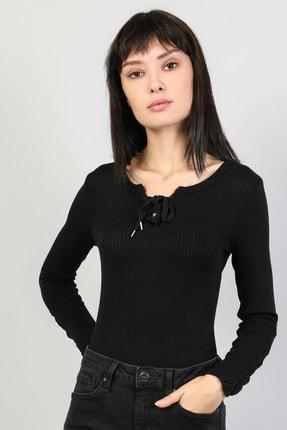 Colin's KADIN Slim Fit Derin Yuvarlak Yaka Kadın Siyah Tshirt U.Kol CL1044888