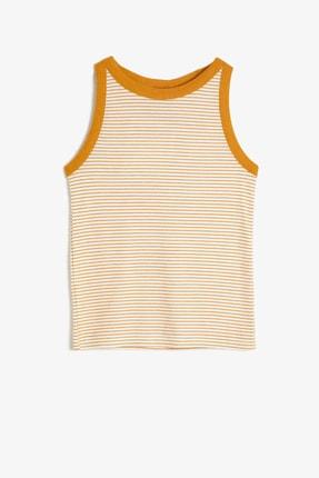 Koton Kız Çocuk Sarı Çizgili Yumuşak Kumaştan Askılı Atlet