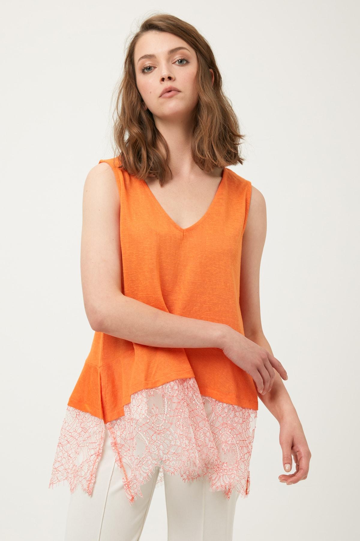 İpekyol Kadın Turuncu Eteği Dantel Mixli Tshirt IS1190070350127 2