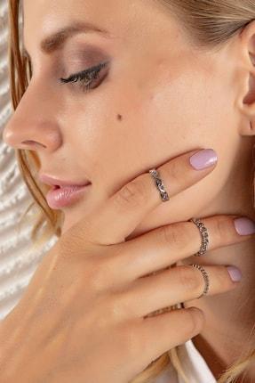 Modex Gümüş Rengi Desenli Çoklu Yüzük