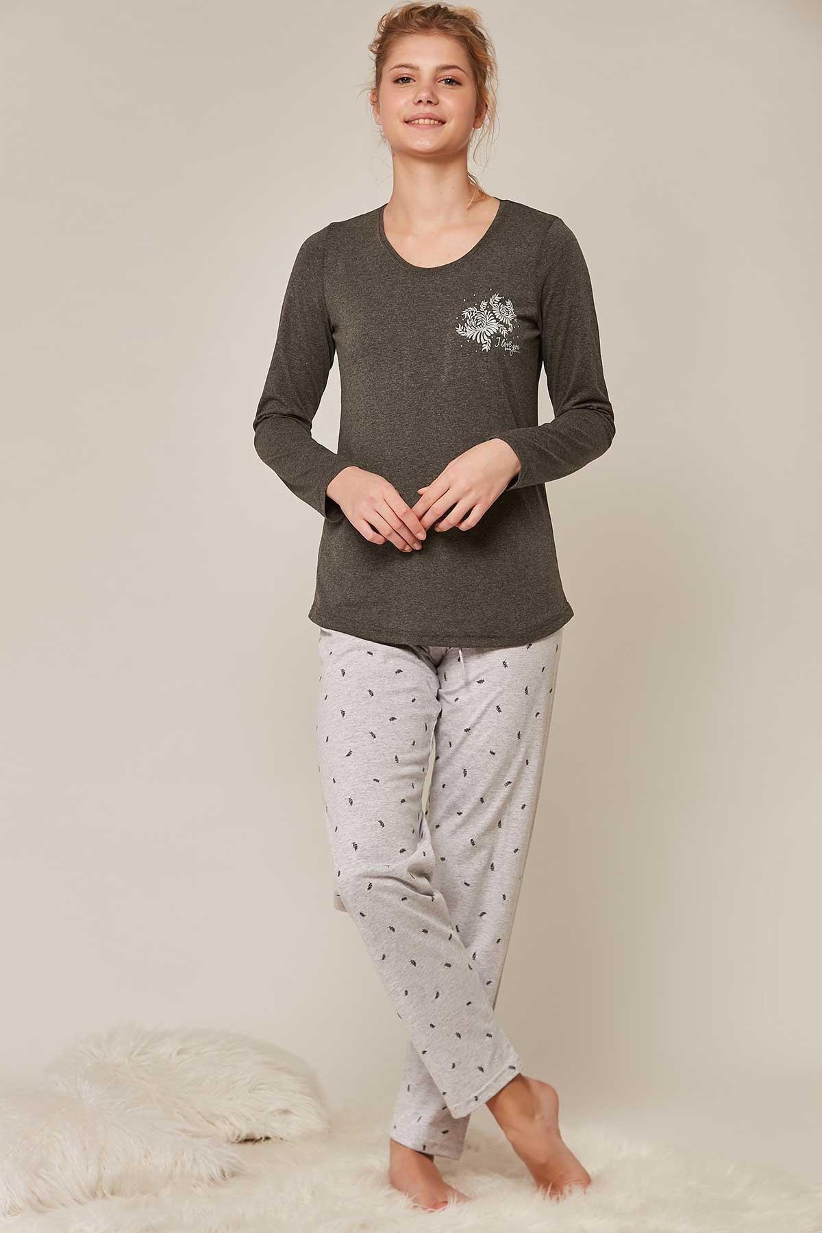 Pattaya Kadın Desenli Uzun Kollu Pijama Takımı 802194 2
