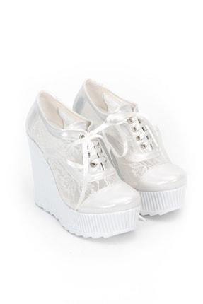 Çnr&Dvs Beyaz Tül Çınar Kadın Dolgu Topuklu Ayakkabı 1204CNR